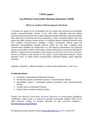 Call for papers Acta Historica Universitatis Silesianae Opaviensis